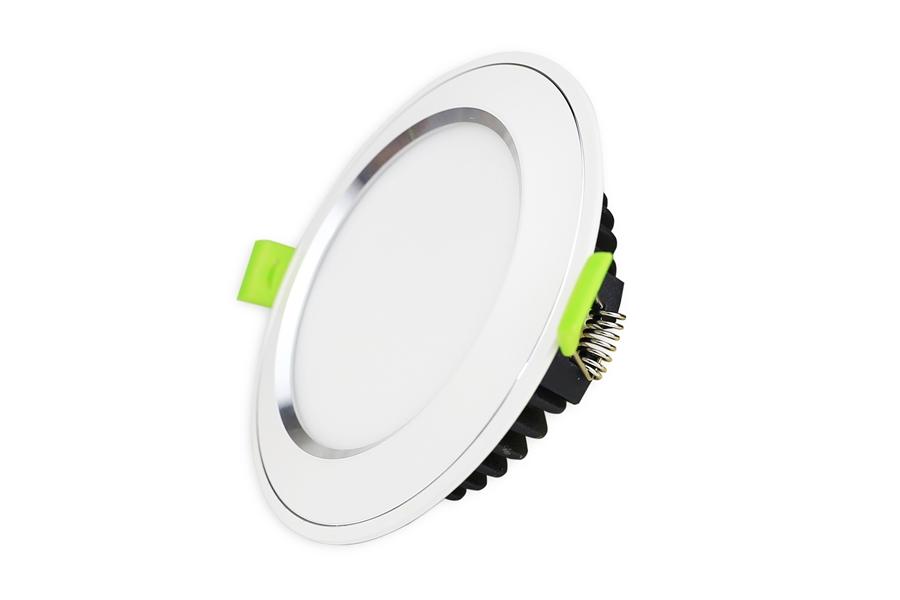 Đèn Led âm trần viền bạc mặt cong 7W