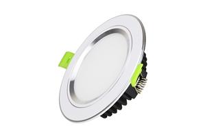 Đèn Led âm trần viền bạc mặt phẳng công suất 7W, lỗ khoét 90mm, as trắng, vàng, trung tính