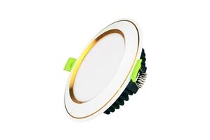 Đèn led âm trần viền vàng, mặt cong, 7W, đổi 3 màu ánh sáng trắng, vàng, trung tính Kingeco