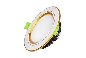Đèn Led âm trần đổi màu viền vàng mặt phẳng công suất 7W, lỗ khoét 90mm